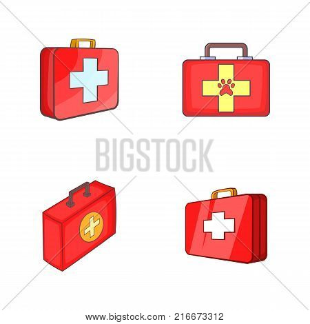 First aid kit icon set. Cartoon set of first aid kit vector icons for your web design isolated on white background