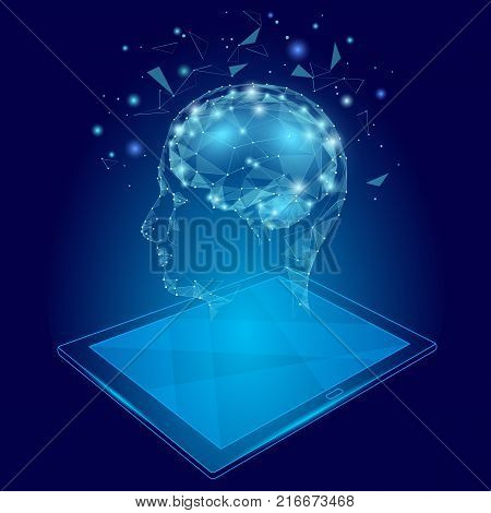 Low poly abstract brain tablet pc virtual reality concept. Geometric polygonal hologram linear mind imagination innovation modern vector illustration active education online extra mental intelligence