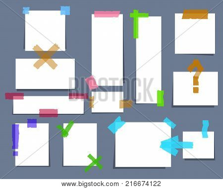 Paper torn page notes. Blank notepad pages with adhesive tape pieces vector illustration. Paper glued to wall with tape EPS