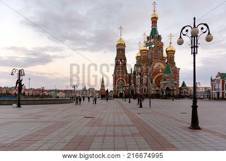 Yoshkar-Ola, Russia - October 27, 2017 View of the Cathedral of the Annunciation of the Blessed Virgin Mary which is located on the Republic Square in Yoshkar-Ola, Russia