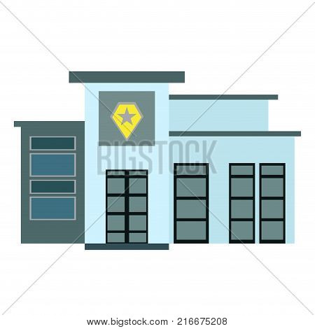 Police station isolated on white background, Vector illustration