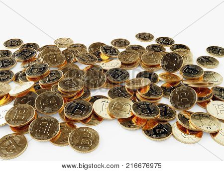 Scattered golden coins cash flow, Bitcoin on white background, 3D illustration