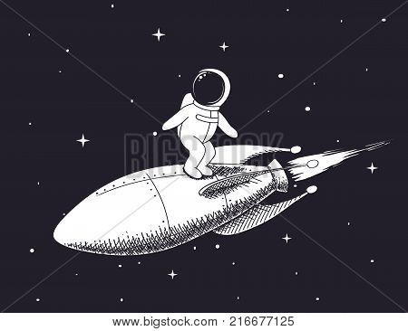 Cute spaceman flies on rocket in outer space.Childish vector illustration.Prints design