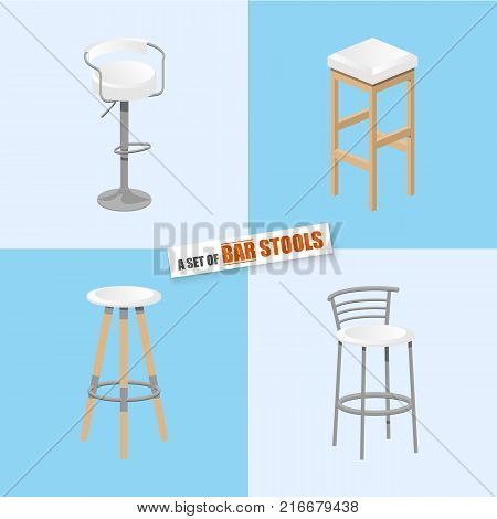Set of bar stools. Bar high chair. Bar interior design. Vector illustration