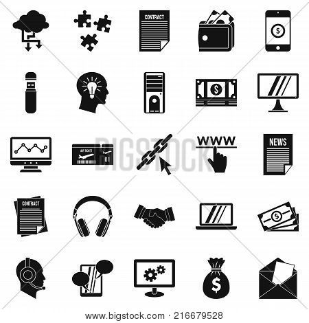 Portfolio site icons set. Simple set of 25 portfolio site vector icons for web isolated on white background