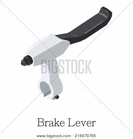 Brake lever icon. Isometric illustration of brake lever vector icon for web