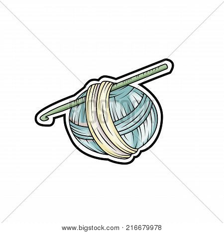 Yarn ball sticker in cartoon style. For print logo creative design. Vector illustration.