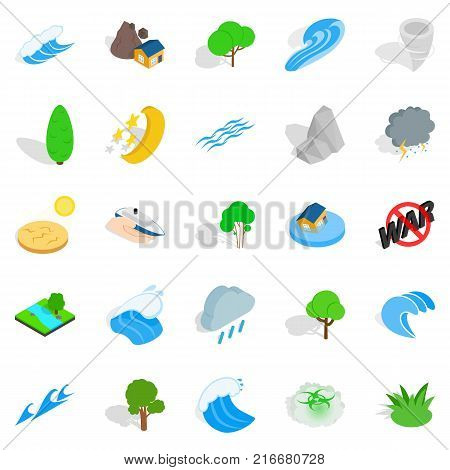 Disaster icons set. Isometric set of 25 disaster vector icons for web isolated on white background