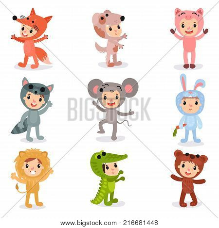Set of cartoon little kids characters in animal costumes fox, puppy, pig, raccoon, mouse, bunny, lion, crocodile and bear. Children wearing jumpsuit for party. Isolated flat vector illustration.