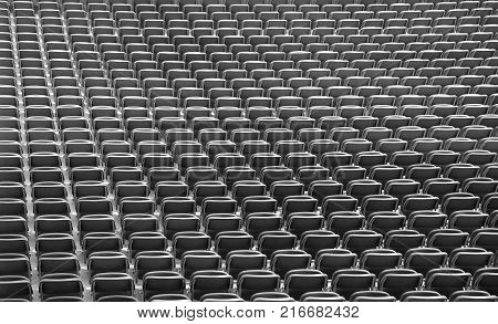 Gray Chairs Without The Spectators In The Big Sports Facility Be
