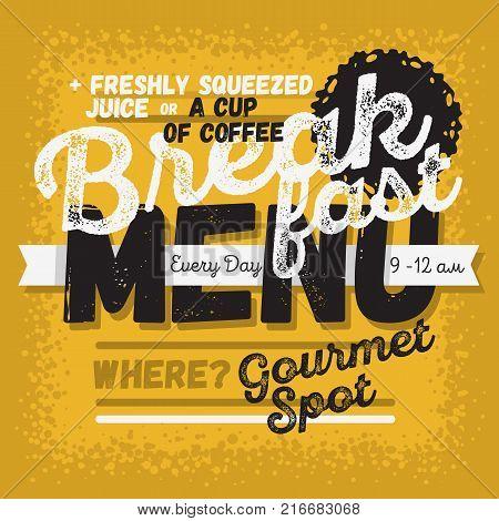 Breakfast Menu Vintage Influenced Typographic Poster Design For Restaurants. Vector Graphic.