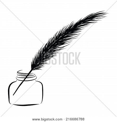Graphic Design Editable For Your Design, Hand Drawn Feather Pan Into The Inkwell Isolated On White B