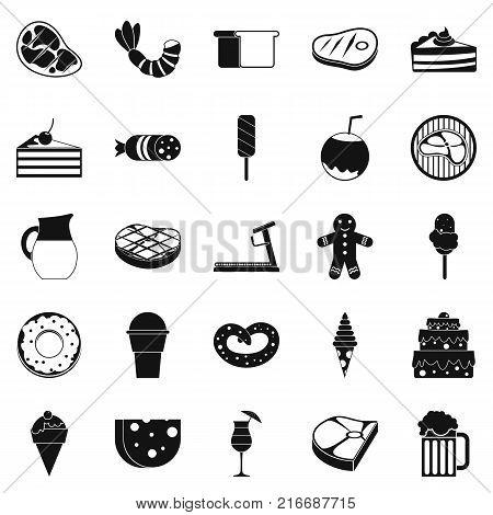 Calory icons set. Simple set of 25 calory vector icons for web isolated on white background poster