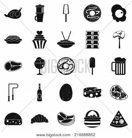 Very harmful food icons set. Simple set of 25 very harmful food vector icons for web isolated on white background