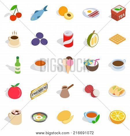 Harmful dessert icons set. Isometric set of 25 harmful dessert vector icons for web isolated on white background