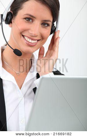 female telesales worker