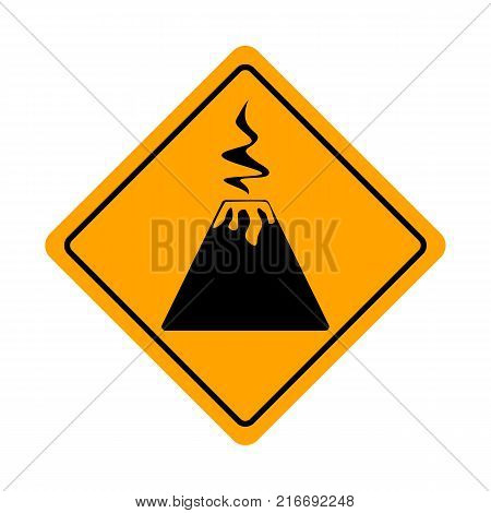 Yellow Diamond beware of volcano traffic sign isolated on a white background. Volcano bord. Warning road signs about the dangers of the volcano