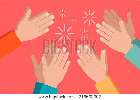 Clapping hands of crowd on bright background.