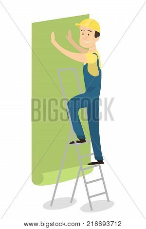 Worker on ladder gluing wallpapers on the wall.