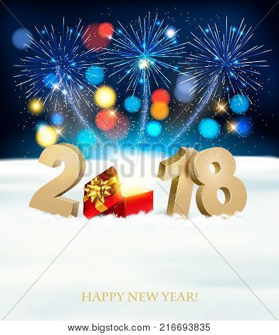 Happy New Year background with 2018 magic box and fireworks. Vector.