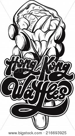 Hong Kong Waffles . Vector handwritten lettering made in 90's style. Hand drawn illustration of waffle Template for card poster banner print for t-shirt.