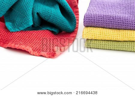 Messy Crumpled Colorful Kitchen Towels, Closeup Background.