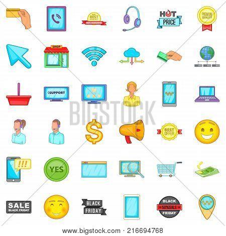 Internet operator icons set. Cartoon style of 36 internet operator vector icons for web isolated on white background