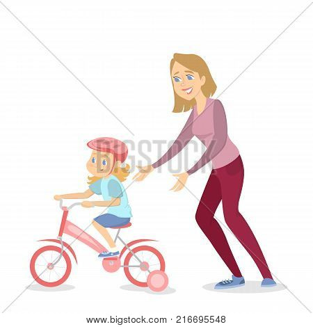 Mother teaching girl to ride the bike on white background.