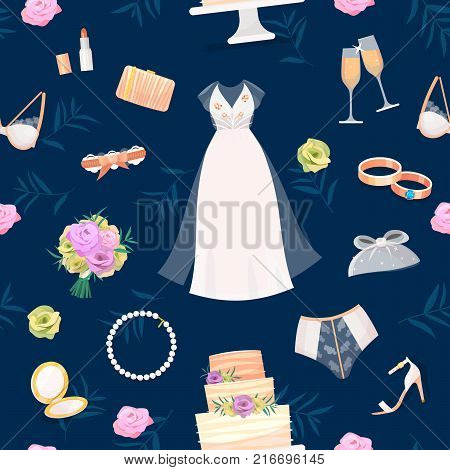 Bride accessories vector set wedding items for marriage ceremony bridal dress, shoes, garter, bouquet, veil, jewelry, rings, clutch, wedding cake seamless pattern background.