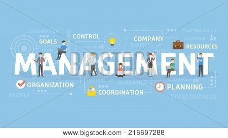 Management concept illustration. Idea of control, company and planning.