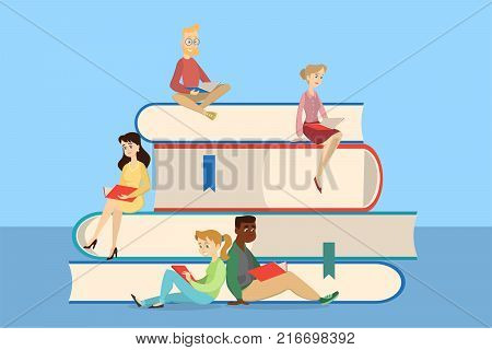 Reading concept illustration. People reading and sitting on giant stack of books.