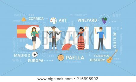 Spain concept illustration. Idea of souther Europe culture and architecture.