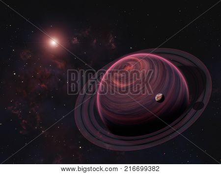 Alien Gas Giant Planet with Rings and Moon on Nebula Background. Elements of this image furnished by NASA.