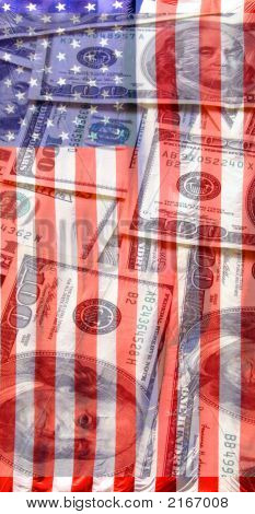 Money And American Flag