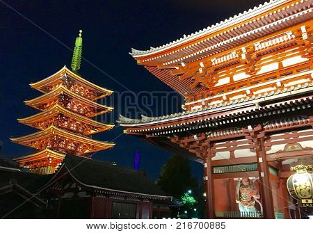 Asakusa Sensoji Temple, Tokyo. Asakusa Sensoji is a Buddhist Temple in Tokyo's traditional downtown. One of Japan's most famous temples with over six million visitors a year.  The temples devoted to Kannon, the God (though often called goddess) of Mercy.