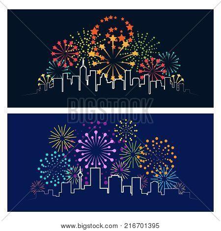 Fireworks city skyline. Celebrating firework over night town panorama, urban festive party landscape concept vector illustration