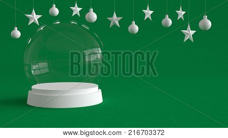 Glass dome with white tray on green canvas background with hanging white balls and stars ornaments. For new year or Christmas theme. 3D rendering.