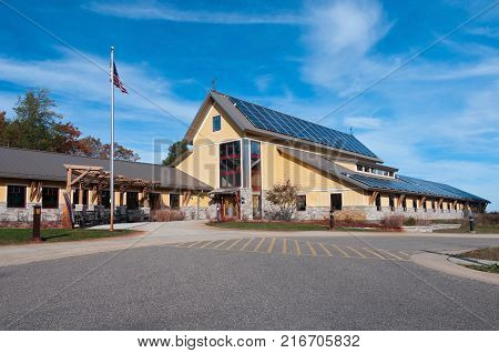 wildlife refuge visitor center exterior and front entrance in juneau county wisconsin