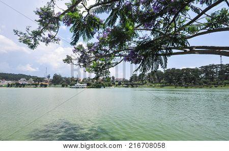 Lake Xuan Huong at sunny day in Dalat Vietnam.