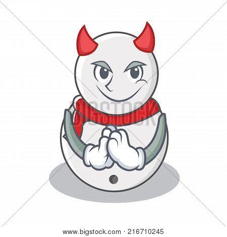 Devil snowman character cartoon style vector illustration