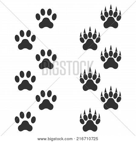 Dog paw and tiger paw with claws. Trace animal. Black footprints isolated on white background. Vector illustration for your design.
