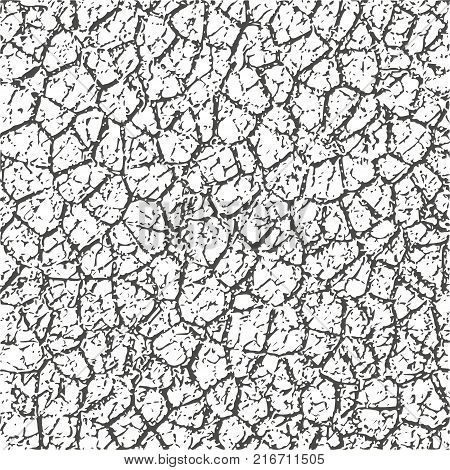 Grunge Cracks Effect Texture. Cracked Concrete Wall. Vector Background
