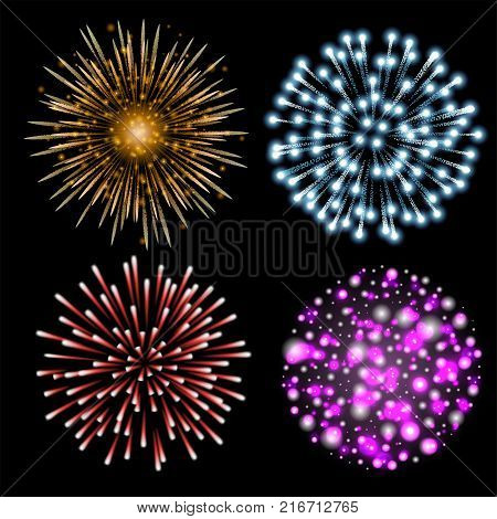 Set of colorful fireworks. Set of festive patterned salute bursting in various shapes against black background. Bright decoration Christmas card, New Year celebration, festival. Vector illustration.