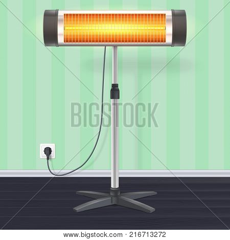 The quartz halogen heater with the glowing lamp on wallpaper background. Domestic electric heater on chrome metal stand, in the interior of room. Appliance for space heating, 3D illustration