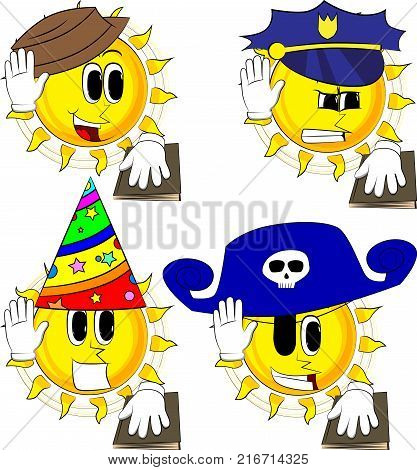 Cartoon sun raising his hand and put the other on a holy book. Taking oath or swearing. Collection with costume. Expressions vector set.