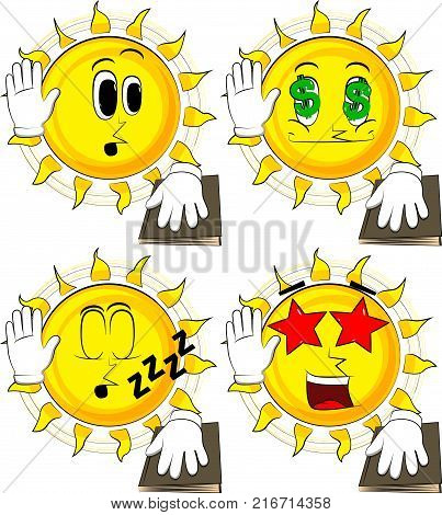 Cartoon sun raising his hand and put the other on a holy book. Taking oath or swearing. Collection with various facial expressions. Vector set.