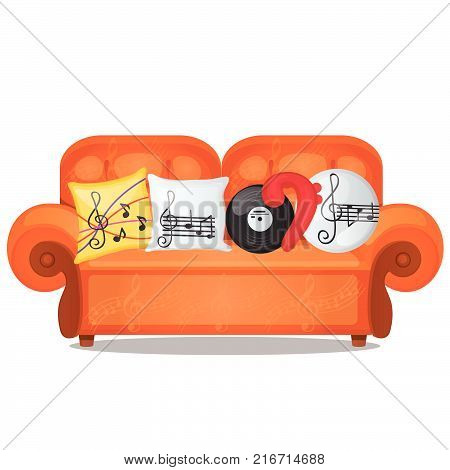 Sofa with pillows on musical theme isolated on white background. Sketch of poster, party invitation, other card. Stylized upholstered furniture for the interior. Vector cartoon close-up illustration.