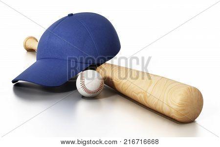 Baseball cap ball and bat isolated on white background. 3D illustration.