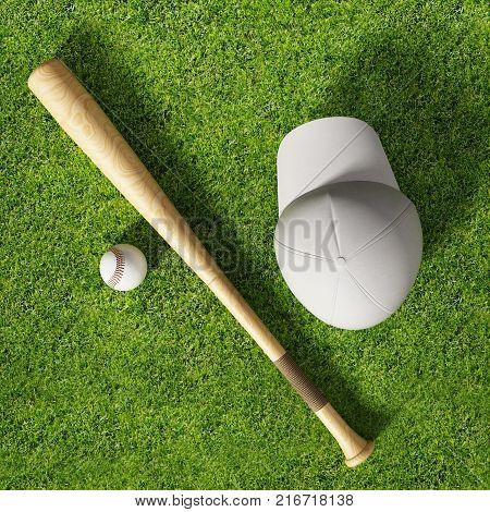 Baseball cap ball and bat standing on grass field. 3D illustration.