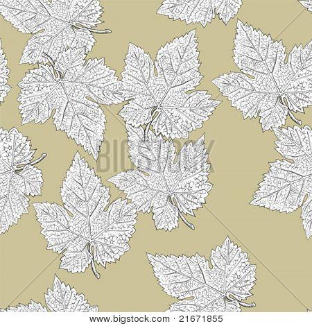 Grape leaves. Seamless pattern. Vector, eps8, easy editable.